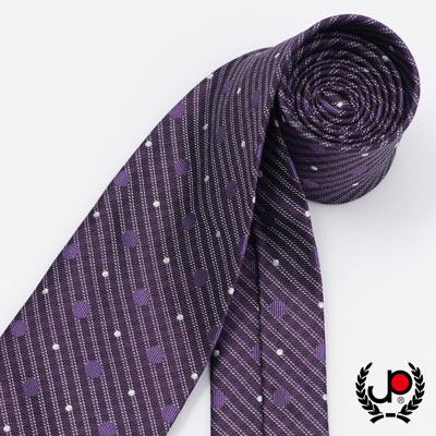極品西服 時尚Teflon防潑水100%絲質提花領帶_ 紫點點(YT5053)