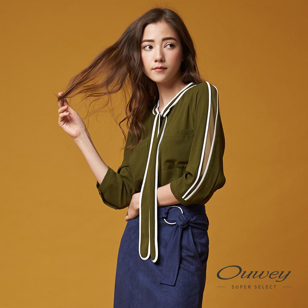 OUWEY歐薇 率性優雅繫結領巾上衣(綠)-動態show