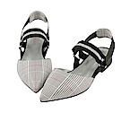 BESO 都會摩登 全真皮經典格紋撞色尖頭平底鞋~白