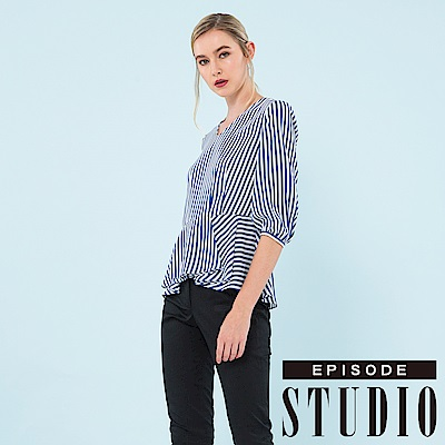 EPISODE Studio - 優雅V領條紋設計上衣 (藍)