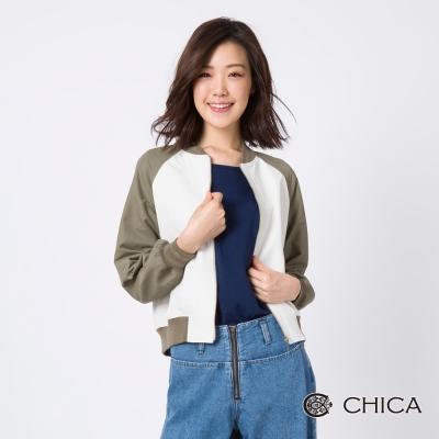 CHICA 逐夢女子撞色設計短版布勞森外套(3色)