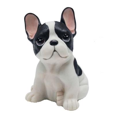 摩達客 超萌擬真黑白好旺鬥牛犬創意狗狗寵物擺飾(單入)