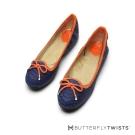 BUTTERFLY TWISTS-動物壓紋撞色系記憶軟墊平底鞋-紫晶藍