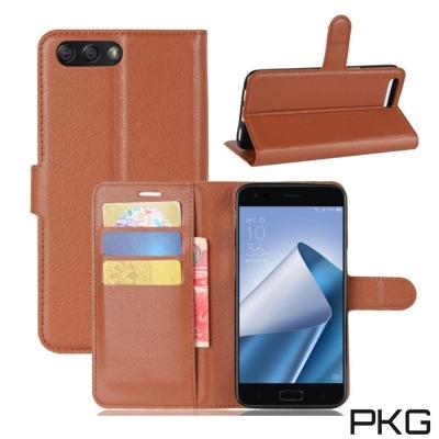 PKG ASUS Zenfone4  ZE554KL 側翻式皮套經典皮革-棕色