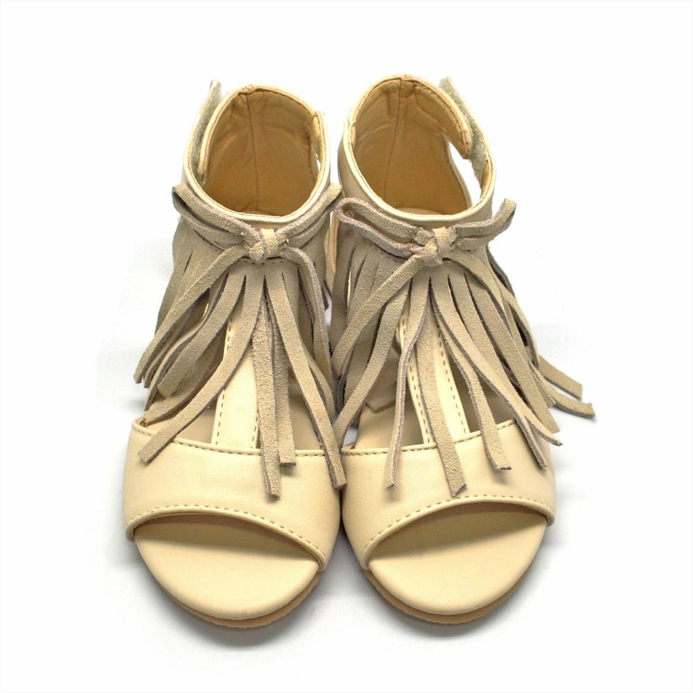 天使童鞋-F593 流蘇羅馬涼鞋(中童-大童)-米