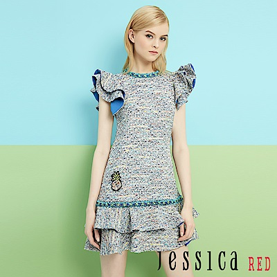 JESSICA RED-小法式俏麗荷葉造型洋裝(藍)