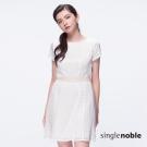 獨身貴族 簡約雅緻米色透膚格紋設計洋裝(1色)