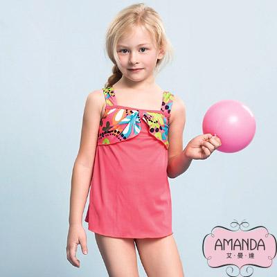AMANDA 女童泳裝 二件式-粉淘氣-17802附帽