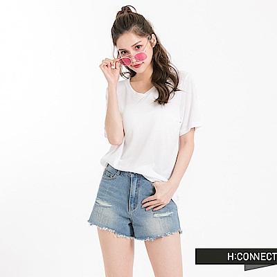 H:CONNECT 韓國品牌 女裝 -V領純色柔軟T-Shirt-白