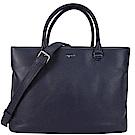 agnes b.荔枝紋皮革三層手提/斜背包-深藍