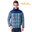 【hilltop山頂鳥】男款超撥水蓄熱羽絨夾克F24ME5深藍/綠格子