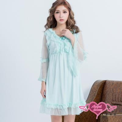 居家睡衣 清秀洋溢 長袖一件式連身氣質層次睡衣(淺藍F) AngelHoney天使霓裳