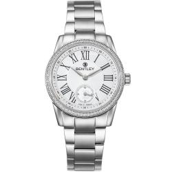 BENTLEY 賓利 Classic系列 典藏風範奢華女錶-白x銀/32mm
