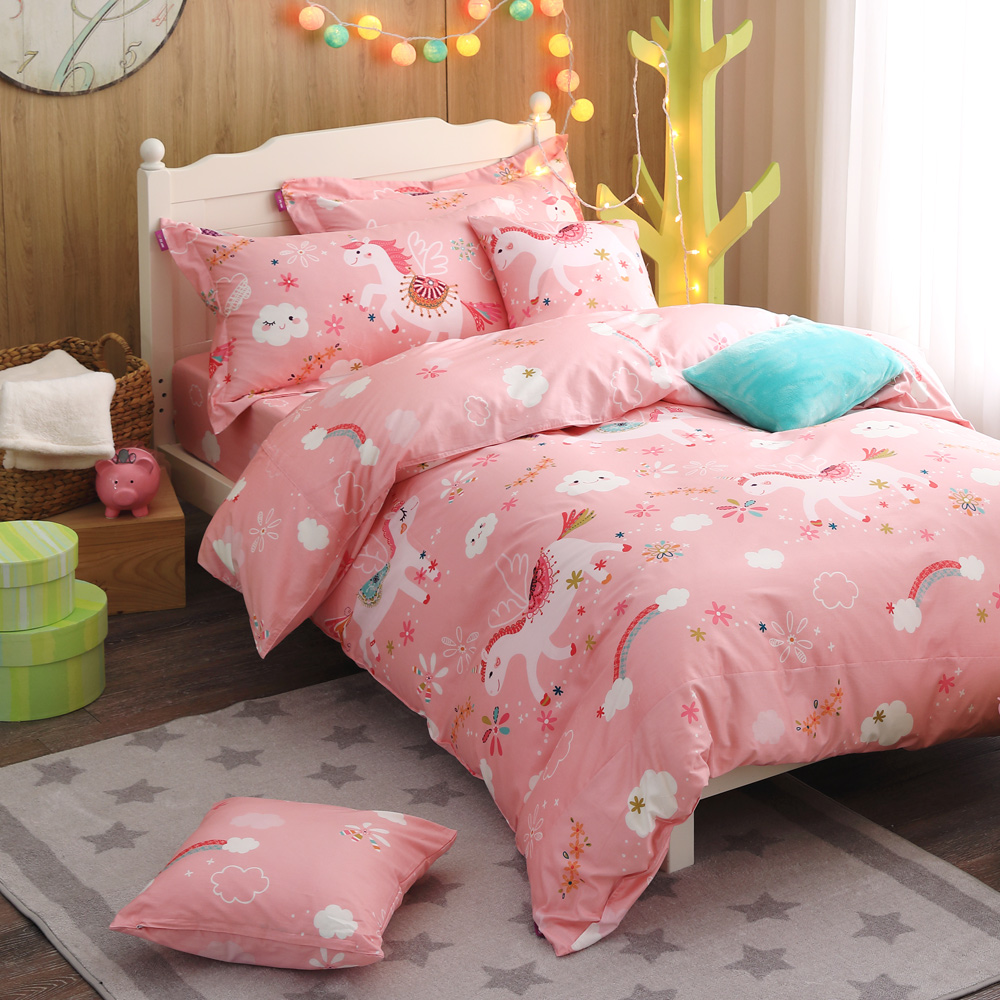 IN HOUSE-Unicorn paradise-200織紗精梳棉兩用被床包組(粉-雙人
