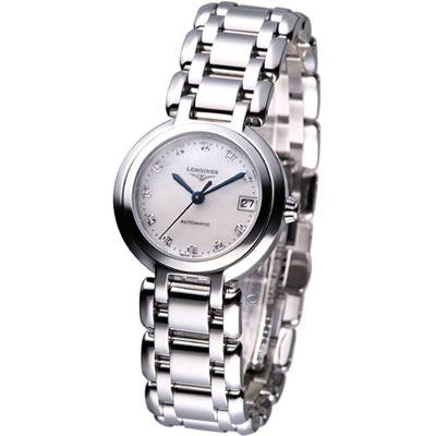 LONGINES PrimaLuna 新月系列時尚機械錶-白/26.5mm