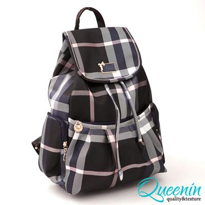 DF Queenin日韓 - 獨賣寶格麗格紋款可愛女孩最愛款後背包