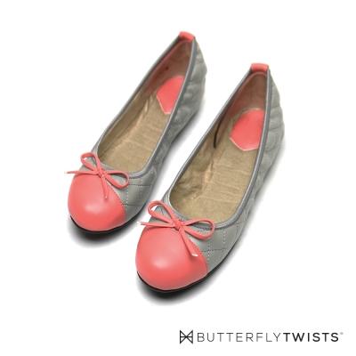 BUTTERFLY TWISTS-格紋款撞色系記憶軟墊平底鞋-灰