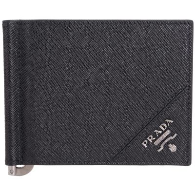 PRADA Saffiano 銀字浮刻金屬鈔票夾防刮牛皮對折短夾(黑色)