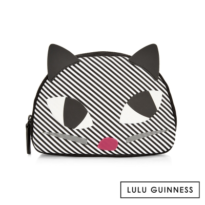 LULU GUINNESS KOOKY CAT條紋化妝包