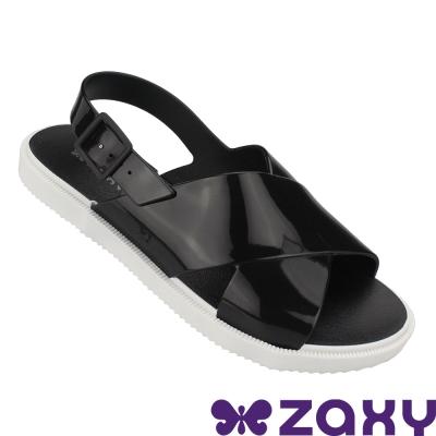 Zaxy 巴西 女 穿搭玩美平底涼鞋-黑色/白色