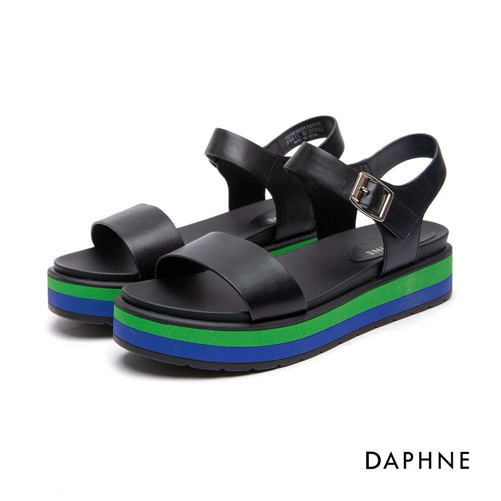 達芙妮DAPHNE 涼鞋-多色拼接一字休閒厚底涼鞋-黑