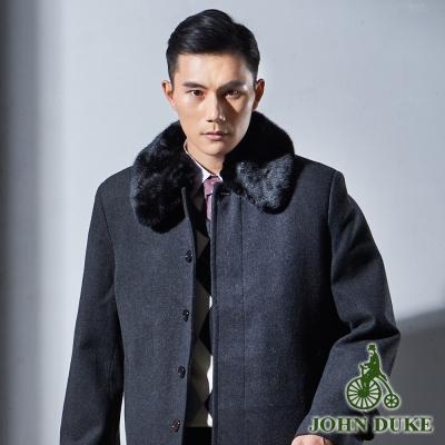 JOHN DUKE 爵士品味羊毛保暖大衣_黑灰(63-1K5856)