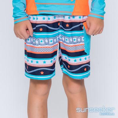 澳洲Sunseeker泳裝抗UV防曬海灘褲泳褲-大男童泳褲/海軍橘