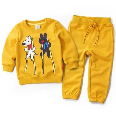 GL法國 優質萌系童趣黃色長袖休閒套裝2件組