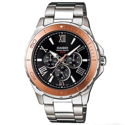 CASIO 簡約經典羅馬時尚指針腕錶(MTD-1075D-1A2)黑面X金框/44.6mm