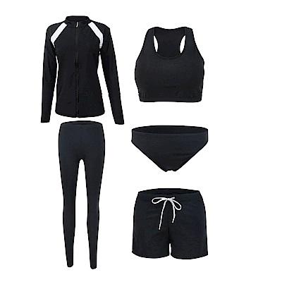 Biki比基尼妮泳衣   長袖五件套泳衣情侶沖浪泳衣(女M-2XL)