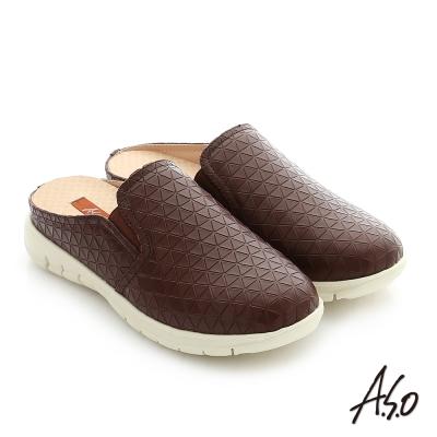 A.S.O 3D超動能 真皮鬆緊帶奈米健走張菲鞋 咖啡色