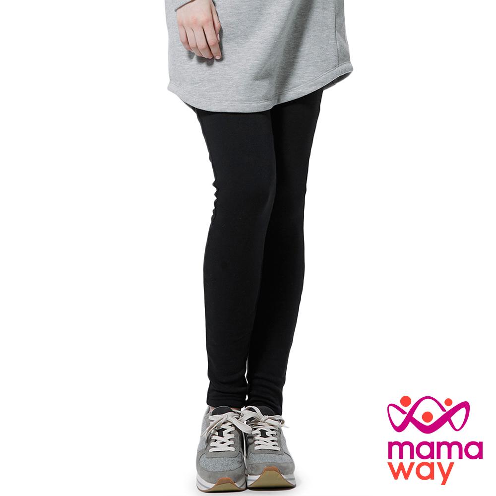 孕婦褲 內搭褲 貼腿褲 孕期厚刷毛貼腿褲 Mamaway