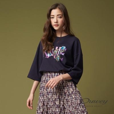 OUWEY歐薇 時尚細緻文字刺繡上衣(藍)
