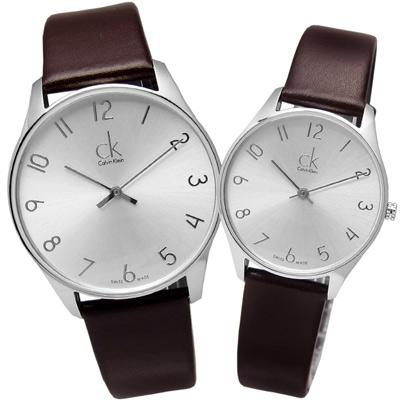 cK Classic 極簡風潮時尚皮革對錶-銀色/38+32mm