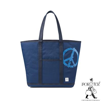 PORTER - 和平主義PEACE NO WAR休閒托特包(L) - 藍