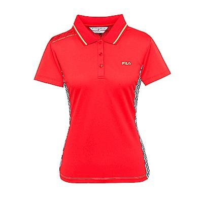 FILA 女款吸濕排汗短袖POLO衫-紅 5POS-1453-RD