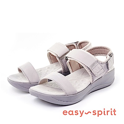 Easy Spirit--一字鬆緊魔鬼氈厚底涼鞋-清爽灰