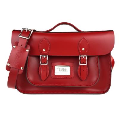 The Leather Satchel 英國手工牛皮劍橋包 肩背後背包 心機紅 14吋