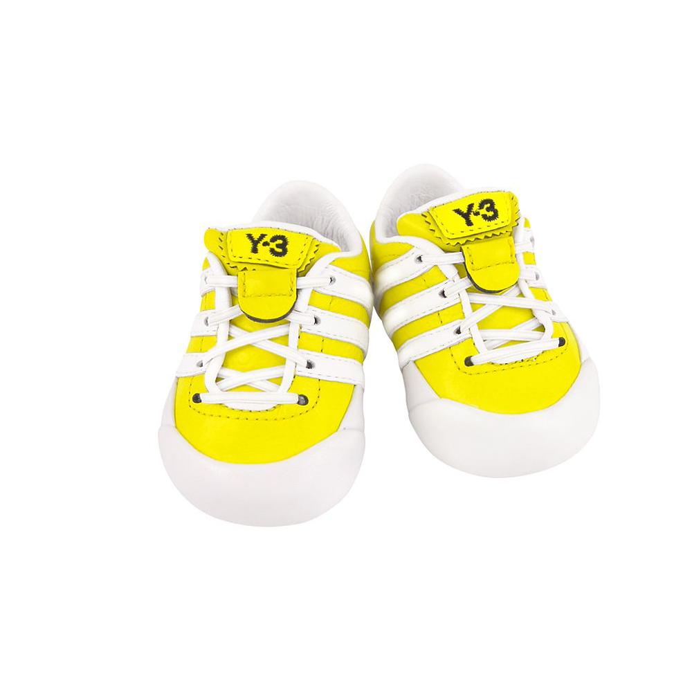 Y-3山本耀司 黃色皮革綁帶嬰兒鞋
