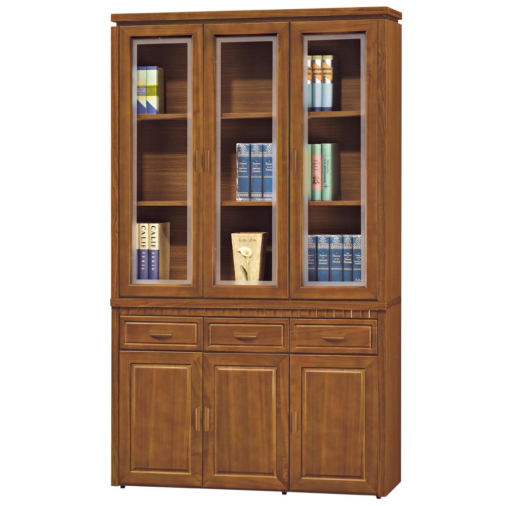 時尚屋 帕塞羅柚木色4尺書櫃 寬120cm