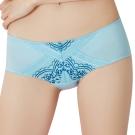 思薇爾 啵時尚花心思系列M-XL蕾絲低腰平口內褲(礦水藍)