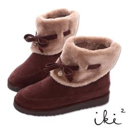 iki2雪靴 真皮可愛蝴蝶結毛毛反折雪靴-深咖