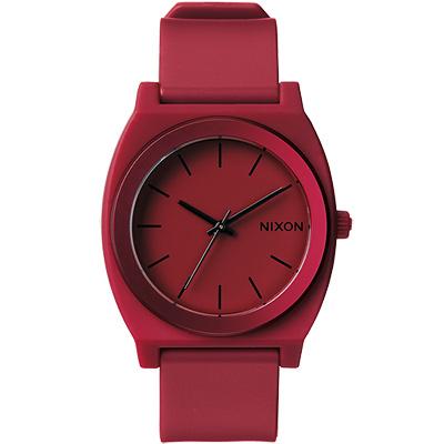 NIXON  The TIME TELLER P 光鮮奪目色彩腕錶-暗紅/37mm