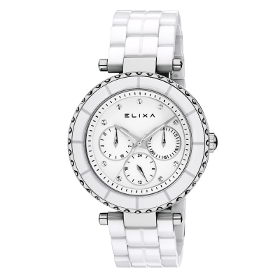 ELIXA CERAMICA陶瓷系列銀框 白色錶面/陶瓷錶帶38mm