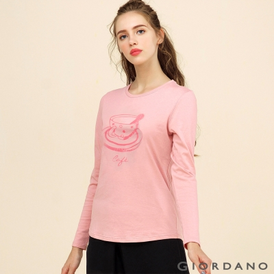 GIORDANO 女裝簡約百搭圓領印花長袖T恤 - 45 玫瑰粉