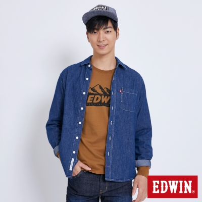 EDWIN BAUHAUS基本貼袋襯衫-男-原藍磨