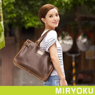 MIRYOKU-經典復古皮革系列-雙夾層簡約肩揹兩用包-泥綠