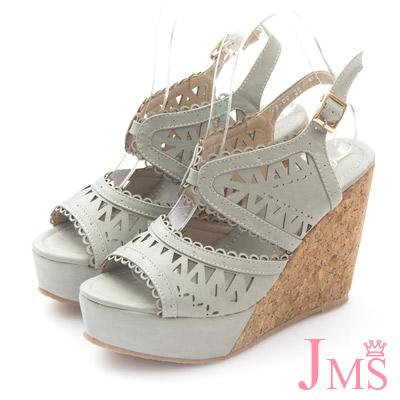 JMS-夏戀唯美縷空雕花高跟楔形涼鞋-灰色