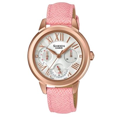 SHEEN優雅迷人風采羅馬數字時刻皮帶腕錶(SHE-3059PGL-7)粉紅X41.3mm