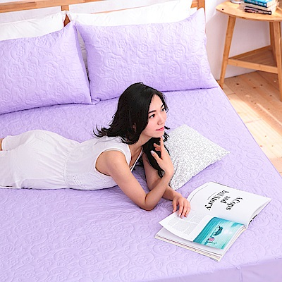 eyah宜雅 吸濕排汗大和防蹣抗菌雙效床包式保潔墊 雙人加大(高貴紫)
